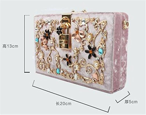 Carved Shoulder Handbag Multi Clutch Women Wedding Evening color Hollow Bags Dress NVBAO Velvet Black Party Z4PqTwg8g