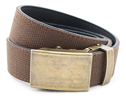 Anson Belt & Buckle - Men's Classic Antique Gold Buckle with Brown Canvas/Leather Strap