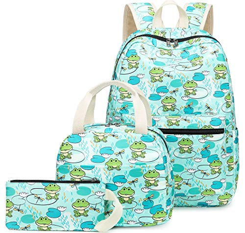 (BLUBOON Backpack for School Girls Teens Bookbag Set Water Resistant Kids Schoolbag with Lunch Tote Bag Casual Daypack (Frog Green-0059))