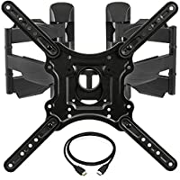 InstallerParts Corner TV Wall Mount for Most 23-55 LED LCD Plasma Flat Screen Monitor up to 132 lb VESA 400x400 with Full Motion Swivel Articulating Dual Arm, HDMI Cable