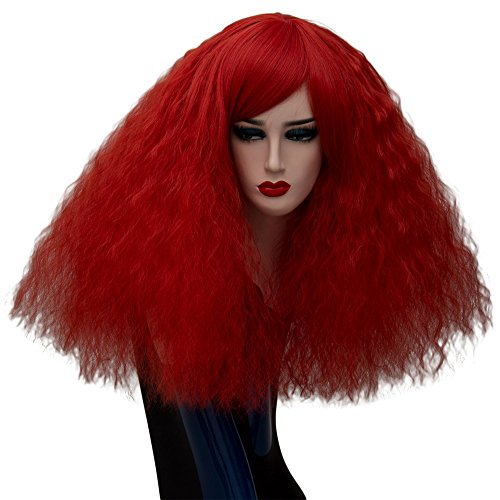 YOURWIGS Fluffy Short Curly Wigs Red Cosplay Wig Halloween Costume Wigs Synthetic Hair Oblique Bangs for Women with Wig Cap Z079G