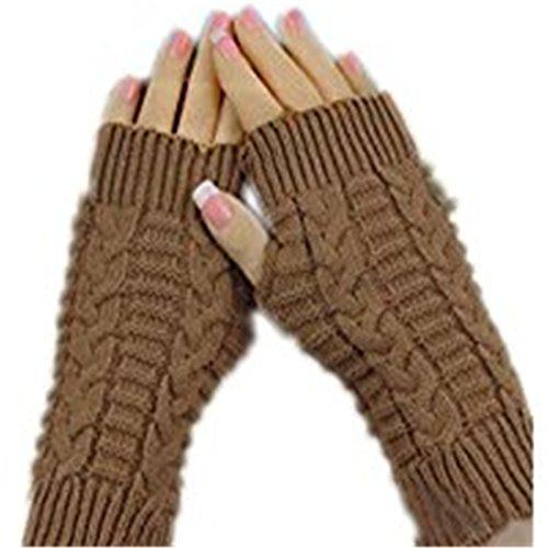 Hot Sale!Knitted Gloves,Hemlock Fashion Fingerless Winter Warm Gloves Unisex Soft Warm Mitten (Khaki)