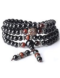 AmorWing 6mm Onyx Tiger Eye 108 Beads Stones Buddha Mala Bracelet Necklace