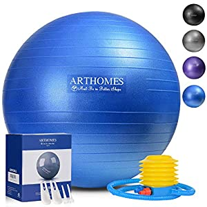 ARTHOMES Exercise Ball, (55cm 65cm) Anti-Burst and Slip Resistant Yoga Ball Fitness Ball Birthing Ball Yoga Ball Chair…