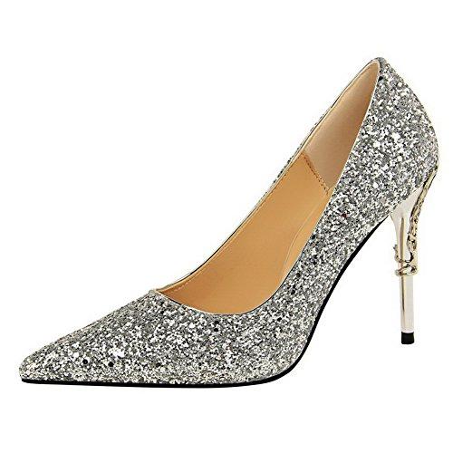Donne Argento punta Solidi Tacchi Pull Punta calzature Pompe Allhqfashion on paillettes rFSqrpRw