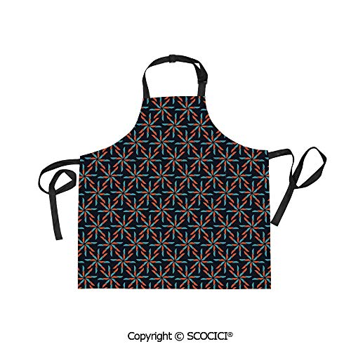 SCOCICI Unisex Waterproof and Dirty Resistant Printing Kitchen Apron,Pinwheel Designs with Dark Toned Backdrop Abstract Pattern Star Motifs,for Cooking Baking Gardening -