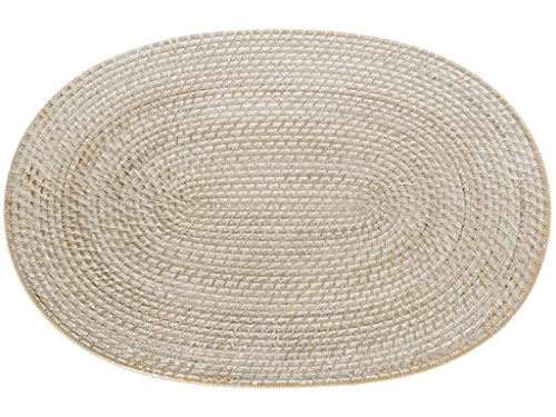 Kouboo Laguna Handwoven Oval Rattan Placemat, 17.5 x 12.5 inch, Set of 2, White Wash (Rattan Oval)