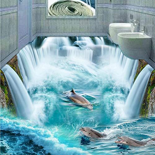 Dolphin Waterfall (Meaosy Custom 3D Flooring Mural Wallpaper Stereoscopic Dolphin Waterfall Floor Sticker Painting Bathroom Floor Decor Vinyl Wallpaper-150X120Cm)