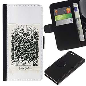 A-type (Ciudad Cartel Gris Chrysler de Nueva York) Colorida Impresión Funda Cuero Monedero Caja Bolsa Cubierta Caja Piel Card Slots Para Apple (4.7 inches!!!) iPhone 6 / 6S