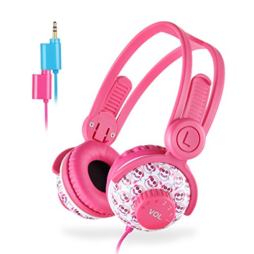 Kids Headphones Girls, EasySMX 3.5mm Comfortable Over-Ear Headsets (Kids Headphone Share Port Pink)