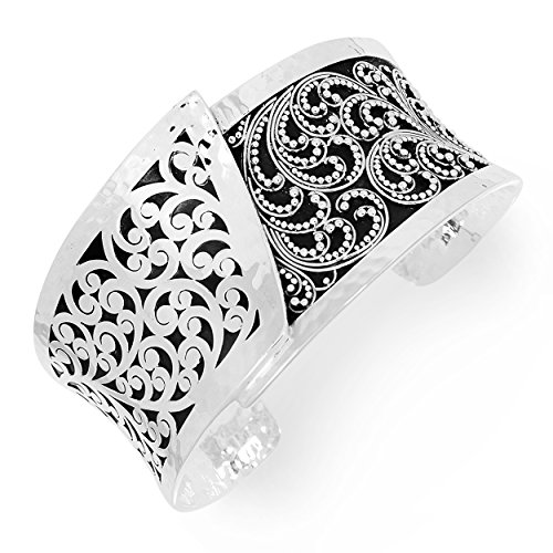 Lois Hill ''Classic'' Sterling Silver Hand Made Scroll and Granulated Design Overlap Cuff Bracelet by Lois Hill
