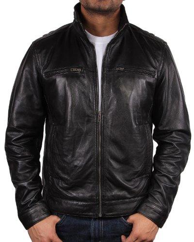 (Brandslock Mens Leather Biker Jacket Coat Designer (Medium, Black))