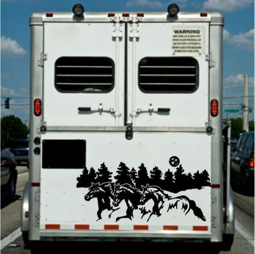 chengdar732 Running Horses Border Horse Trailer Truck RV Camper Decal Stickers 22x40
