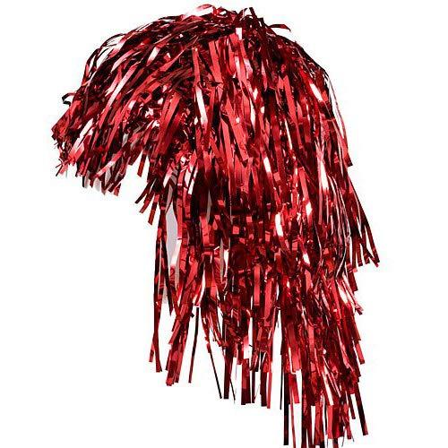 (N2 One Size Red Foil Metallic Tinsel Economy School Spirit Costume Wig)