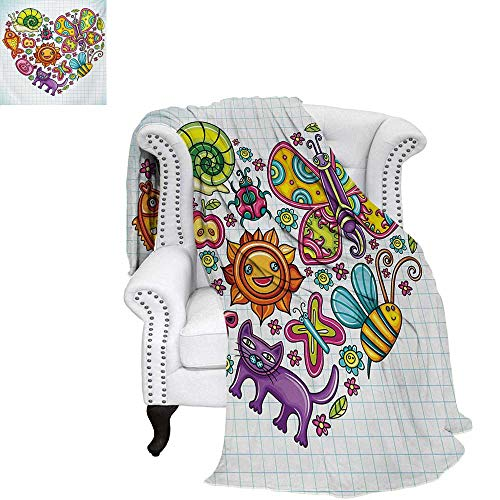 Doodle Summer Quilt Comforter Flora and Fauna Themed Heart Animals Birds and Plants Bumblebee Ladybug Leafs Cat Digital Printing Blanket 60