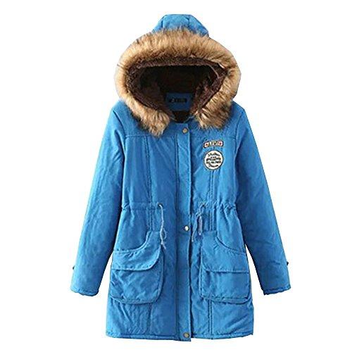 EMMA Tamaño Clásico de Invierno Ácido para Gran Azul de Caliente Abrigo Encapuchado Mujer Lana de rz47vr
