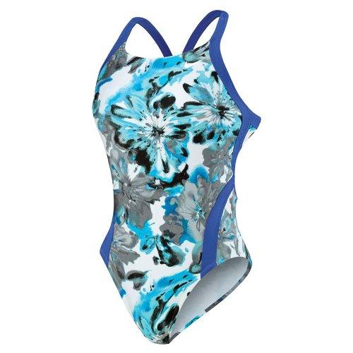 Nike Swim Women's Tie Dye Floral Modern Fast Back Tank Swimsuit - Medium Blue 28
