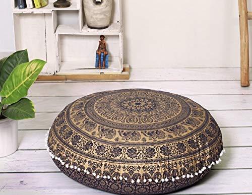 "Popular Handicrafts Large Hippie Elephant Mandala Floor Pillow Cover - Cushion Cover - Pouf Cover Round Bohemian Yoga Decor Floor Cushion Case- 32"" Blue Gold"