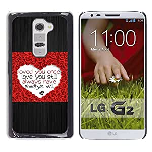 TECHCASE**Cubierta de la caja de protección la piel dura para el ** LG G2 D800 D802 D802TA D803 VS980 LS980 ** Love Heart Rose Brushed Metal Valentines