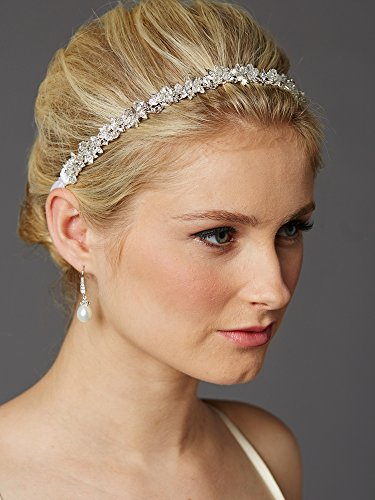 Mariell Crystal Cluster Bridal Wedding Headband Hair Vine with White Satin Ribbon