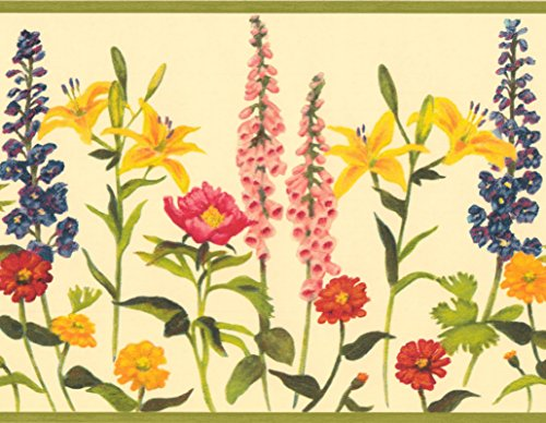 Red Pink Yellow Blue Orange Flowers Butter Yellow Floral Wallpaper Border Retro Design, Roll 15' x 8'' - Orange Flower Wallpaper