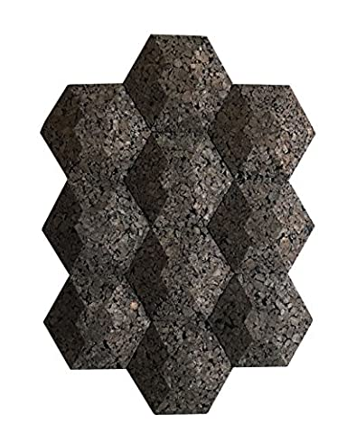Cork Wall Acoustic Hexagons (10 Count) Noise and Thermal Insulation 9.5x9.5x2 Inches (Turn Concrete Into Gold)