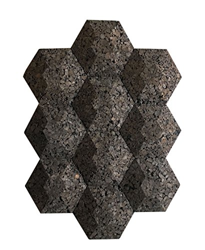Cork Wall Acoustic Hexagons (10 Count) Noise and Thermal Insulation 9.5x9.5x2 Inches (Lime Bronze Wall)