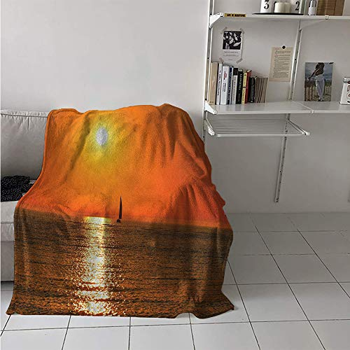 Digital Printing Blanket, Small Yacht Sailboat on Lake Michigan at Sunset Nautical Serenity Maritime Culture, Print Image Thicken Blanket 62x60 Inch Orange (Best Seats At Michigan Stadium)