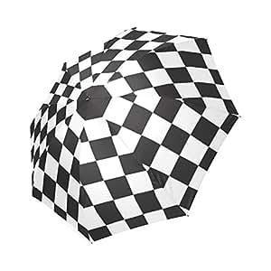 Moda Negro/Blanco cuadros y cuadros Gingham patrón paraguas compacto plegable lluvia/sol paraguas, anti-UV, paraguas resistente al viento resistente al agua