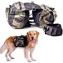 Yoption Dog Saddlebag Backpack Adjustable Style Dog Accessory Harness Bag for Medium and Large Dogs Outdoor Travel Hiking Camping Training (Free Foldable Water Bowl include) (L)