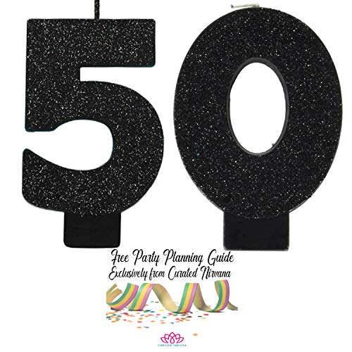 50th Birthday Candles - Curated Nirvana Over The Hill 50th Birthday Candle Bundle | #s 5 and 0 in Black Glitter 3.25 Tall