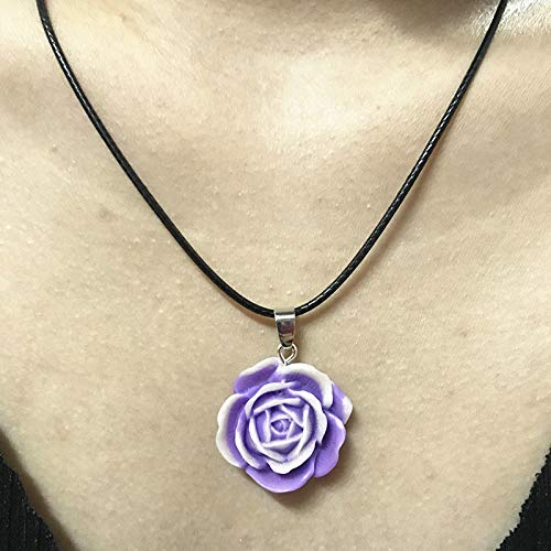 1pcs Retro Peony Flower Resin 25mm Personality Pendant Cowhide Necklace Purple SY9U