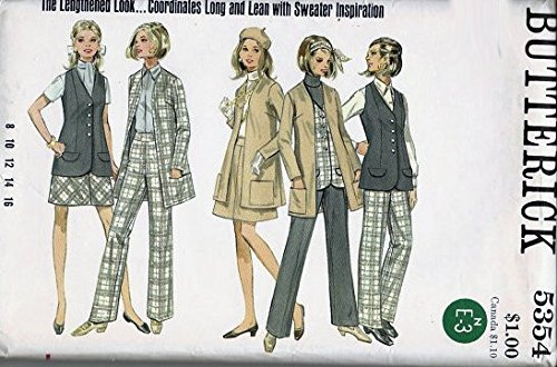 Butterick 5354 Sewing Pattern, for Misses Size 12, Bias Cut Back Zip Skirt, Long Back Vent Cardigan Jacket or Vest, with Flaps & Darts, with Back Zip Pants