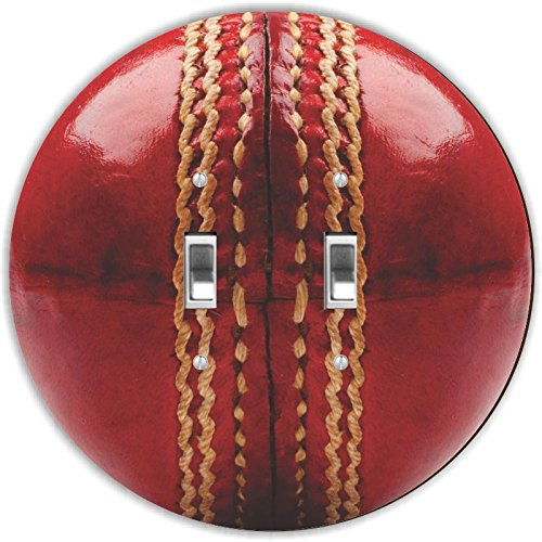Rikki Knight RND-LSPDBL-207 Cricket Ball Round Design Double Toggle Light Switch Plate, Red by Rikki Knight