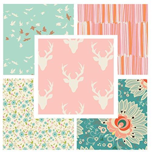 Girl's Woodland Quilt Fabrics | Hello Bear Pink Deer Fabric | Nursery Quilt Bundle | Pink Aqua Fabrics for Quilt | Bonnie Christine | Art Gallery Fabrics (Fat Quarters)