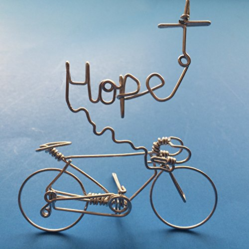 Cross Wire String (HOPE Bicycle Art Decor - Script Word Hope Cross Sign -Bike Incense Holder Cycling Decorations -Handmade with One String Metal Wire with NO Single BREAK - Buy Road Bikes For Sales Online)