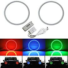 """iJDMTOY 132-LED RGB Multi-Color LED Angel Eyes Halo Rings For Jeep Wrangler, CJ (Also any car with 7"""" headlights)"""