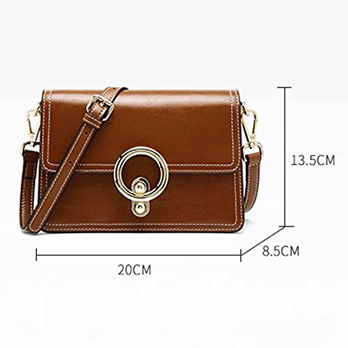 Bag package Female Party Color Bag Fairy Female Retro Oil Brown Bag Wax BLACK Female Handbag JIUTE Fashion Small OdxqRO