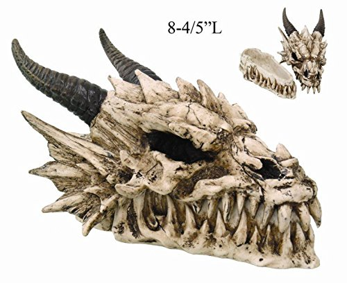 PTC 8.08 Inch Horned Dragon Skull with Fang Teeth Box Statue Figurine