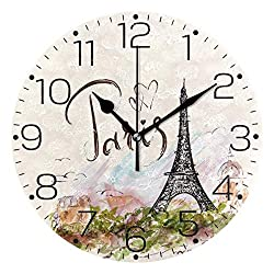 ZZAEO Stylish Pattern Paris Eiffel Tower Printed Round Acrylic Wall Clock Art Frameless Quiet Desk Clock for Kitchen Bedroom Living Room Classroom Home Decor