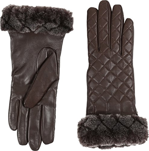 UGG Women's Quilted Croft Leather Smart Gloves Brown MD