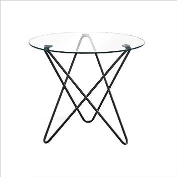 Xiaoyan Table Basse En Verre Trempe Table Ronde En Fer Forge Petite