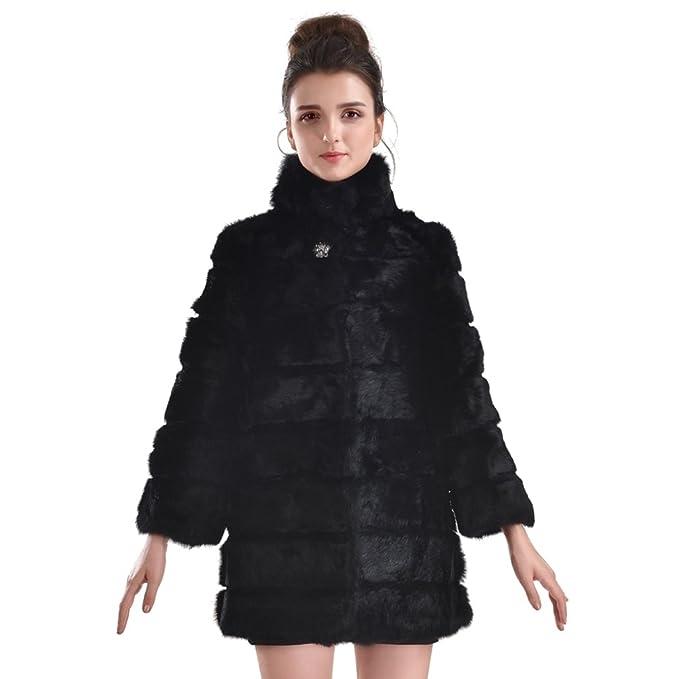 OLLEBOBO Vera Pelliccia Coniglio Cappotto Giacca da Donna Invernale Lungha  taglia L nero  Amazon.it  Abbigliamento 331bfce8034