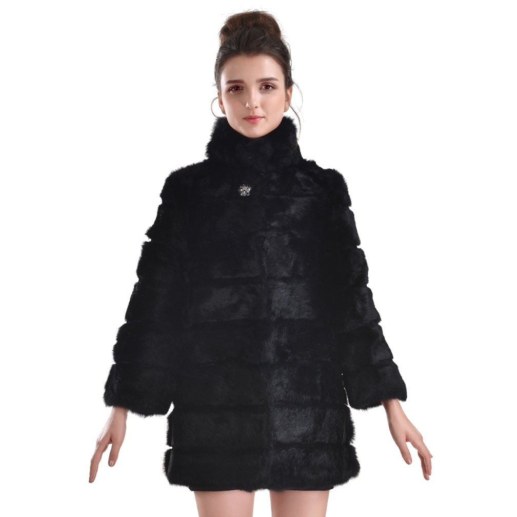 OLLEBOBO New Women's Genuine Rabbit Fur Coat with Collar Fashion and Warm size 3XL black