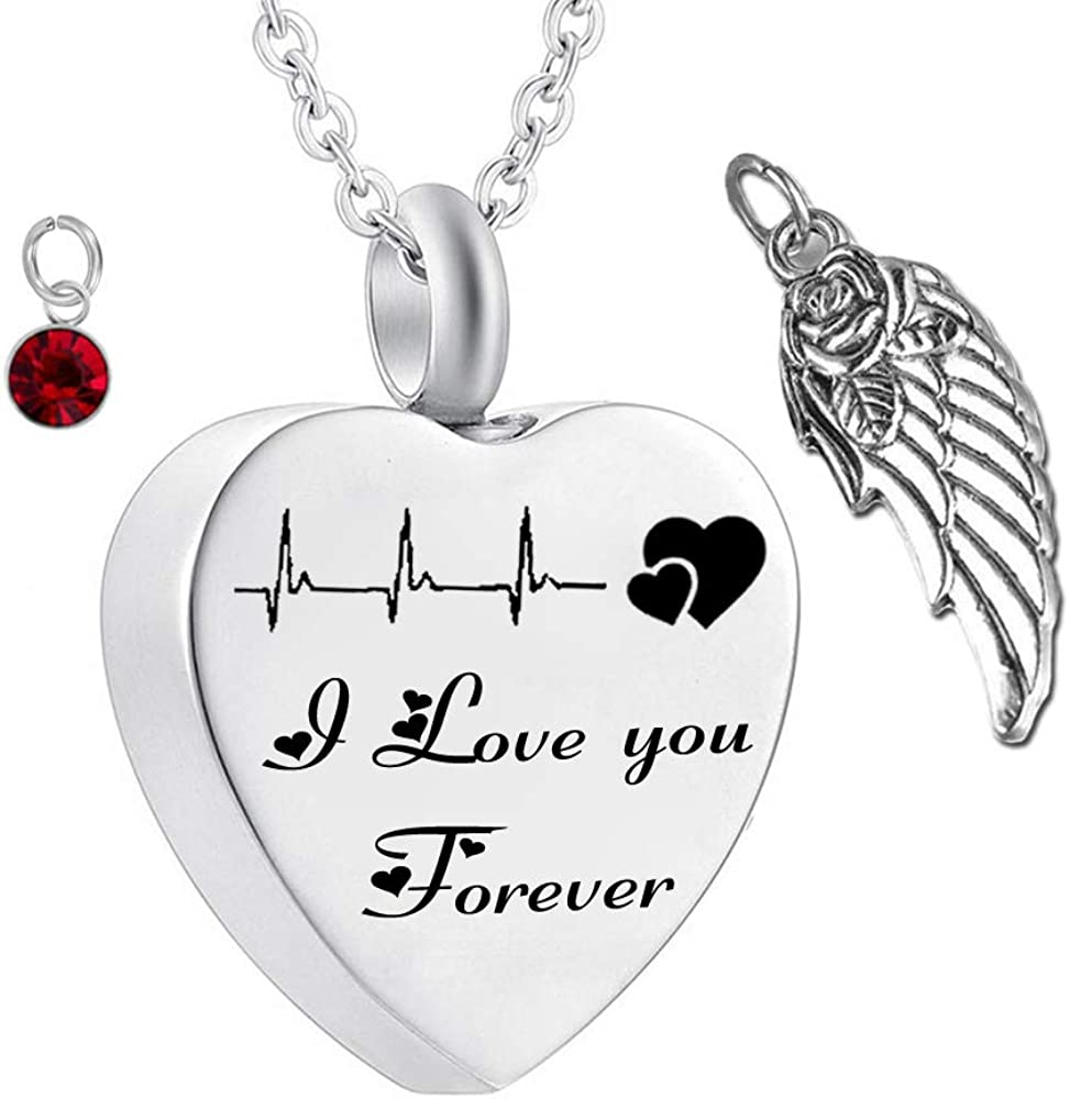 WK Cremation Jewelry Cardiogram Life line Necklace Silver Always in My Heart I Love You Forever Memorial Necklace Ashes Keepsake Pendant