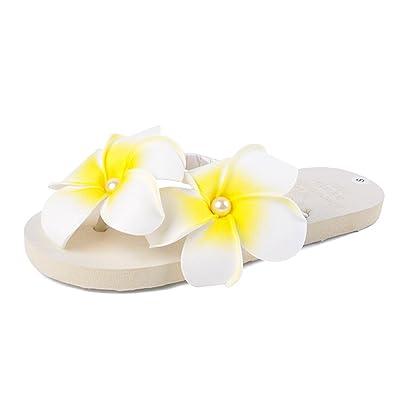 ADIASEN Fashion Hot Handmade Summer Beach Egg Pearl Flower Pearl Women Girl Slippers Flip Flops (US8-US9)