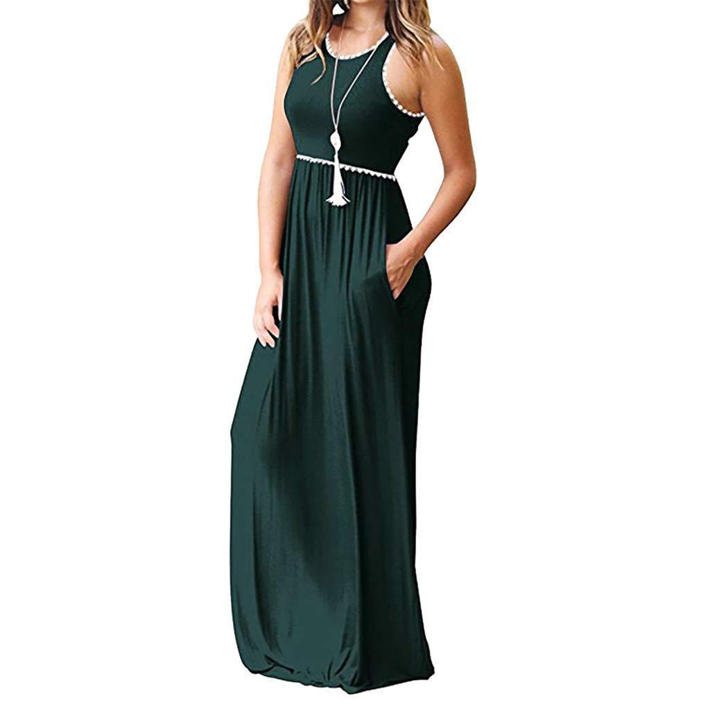 Garish 2019 Women's Round Neck Tassel Vest Long Dress with Pocket, Party Banquet Dress Green
