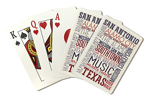 San Antonio, Texas - Typography (Playing Card Deck - 52 Card Poker Size with Jokers)