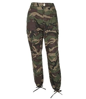Guiran Femme Taille Haute Camouflage Fermeture éclair Combat Pantalons  Treillis Militaire Cargo Pantalon de Travail Multi 8c63ff80f87