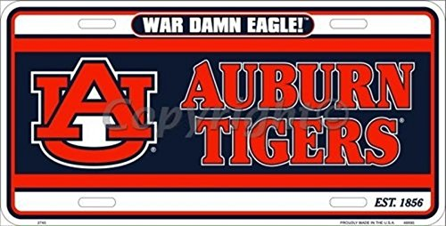 University of Auburn Tigers War Eagle Collegiate Embossed Aluminum Automotive Novelty License Plate Tag Sign ()